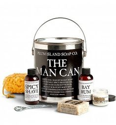 Spa Gift Baskets: The Man Can is chock-full of manly soaps, shaving gel, lotions and a loofah for the guy who deserves a little pampering - man-style. #fathersday #fathersdayideas #fathersdaygifts