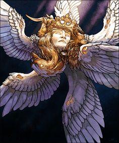 Heaven and Hell- Cherubim Fantasy Creatures, Mythical Creatures, Fantasy Kunst, Fantasy Art, Angel Artwork, Sphinx, Arte Pop, Angels And Demons, Creature Design