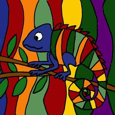 Colorful Abstract Art Chameleon Original