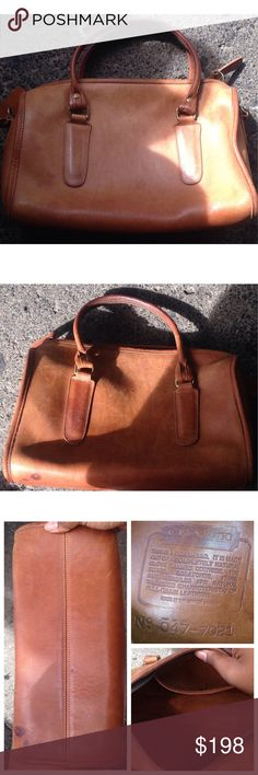 USA VTG COACH Leather Tan MADISON purse Doctor Bag Vintage COACH Leather Tan Brown MADISON Satchel Doctor Bag Purse Tote USA  preloved  Missing swing tag  Missing crossbody   Stitching and corners are tight  Kinda looks British tan  Has a  dark area but that should blend over time   Zipper runs smooth Coach Bags Satchels