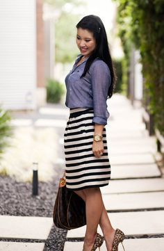 chambray denim shirt, black white striped skirt, leopard print pumps, louis vuitton galliera, outfit by kileencheng, via Flickr