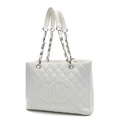 Pre-Owned Chanel White Quilted Caviar Leather Grand Shopping Tote Bag ($1,815) ❤ liked on Polyvore featuring bags, handbags, tote bags, bolsas, chanel, white, white leather tote bag, leather tote bags, chanel tote bag and tote handbags