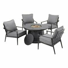 Round outdoor fire pit and four lounge chairs for a porch, patio, deck, or terrace. Outdoor Fire Pit & Chair Set Gray Cushion Patio Porch Furniture gets its modern look from clean curves. The spacious patio lounge chairs are softened with thick. Fire Pit Chairs, Patio Lounge Chairs, Garden Patio Sets, Outdoor Fire Table, Fire Pit Sets, Rectangular Fire Pit, Patio Furniture Sets, Furniture Assembly, Office Furniture