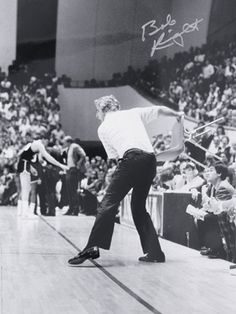 Bobby Knight Indiana Hoosiers (the infamous chair toss) by the way, I have the negative, from Indianapolis Star & News of this photo, if anyone is interested Indiana Basketball, Basketball Legends, College Basketball, Basketball Court, Bob Knight, Iu Hoosiers, 16x20 Frame, Indiana University, South Bend