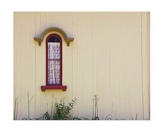 ReD: Red Cottage Window Photograph, Rustic Architecture Photography, Minimalist Modern, Cream White Neutral Decor, Farmhouse Shabby Chic Art on Etsy, $25.00