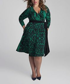 Look what I found on #zulily! Jade & Black Neve Wrap Dress - Plus by IGIGI #zulilyfinds