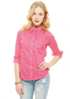 Button-down Polka Dot Shirt in Pink-Multi - View All Tops - Tops - Clothing - dELiA*s