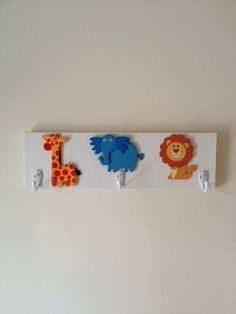 Kids Jungle Animals 3 Wall Hooks Unisex Nursery Wall Decor Circus Animal Room Decor ** Learn more by visiting the image link.