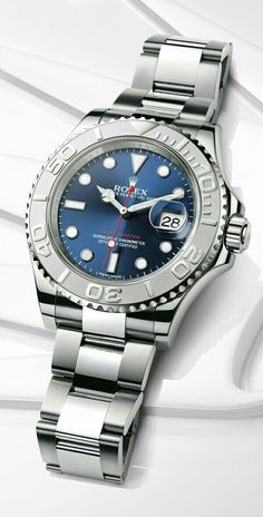 The platinum bezel looks unreal in person - Rolex Yacht-Master 40 mm in steel and platinum with a rotatable graduated bezel, blue dial and Oyster bracelet. Dream Watches, Fine Watches, Cool Watches, Rolex Watches, Swiss Luxury Watches, Luxury Watches For Men, Der Gentleman, Stylish Watches, Rolex Submariner
