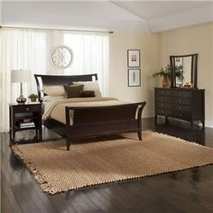 Kensington Bedroom by Aspenhome - Unique, smooth styling brings this classic sleigh bed to contemporary days, perfect for an apartment, master bedroom or guest room #sleighbed