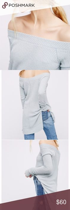 """Free People Kate Off Shoulder Thermal Top New with tags!  """"An essential go-to, this Free People thermal top is never short on style."""" Boat neckline Pullover style Long sleeves Allover honeycomb knit detailing High-low hem with side vents Hits below hip Modal/polyester/spandex Machine washable Free People Tops"""