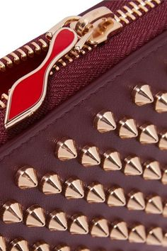 Christian Louboutin - Panettone Spiked Leather Wallet - Burgundy - one size