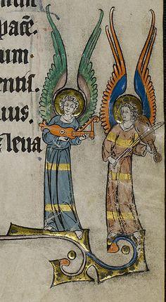 Angels with citole (left) and vielle, c.1320. The vielle has frets. From Missel de Prüm, Winterteil (Prümer Missale) : Ms. theol. lat. fol. 271, folio 33r.   http://resolver.staatsbibliothek-berlin.de/SBB0001A1E200000000