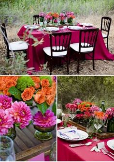 pink and orange, pink and black, pink table, orange flowers, pink flowers