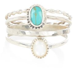 Accessorize Sterling Silver 4 x Turq Siam Stacking Rings