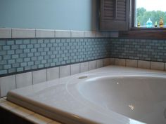 Prism Squared 1 x 2 Glass Subway Tiles - Aquiline Gloss/Frosted Blend Photo
