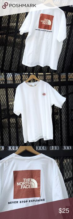 The North Face t-shirt The North Face (Never Stop Exploring) pre-owned white t-shirt. Size - 2x. The North Face Shirts Tees - Short Sleeve