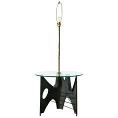 Brutalist Metal Floor Lamp with Glass Table   Lamp Design Ideas