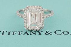 Tiffany & Co. 3.36 ct Soleste Platinum Emerald Cut Diamond Halo Engagement Ring