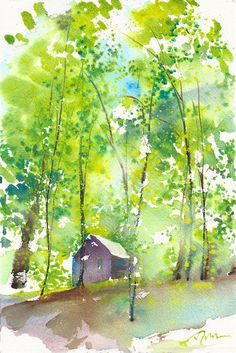 Camping Trip limited edition of 50 fine art giclee prints from my original watercolor Watercolor Pictures, Watercolor Trees, Watercolor Landscape, Landscape Art, Landscape Paintings, Watercolor Paintings, Watercolours, Watercolor Paper, Art Aquarelle