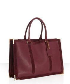 It's a red wine color! Fendi - Bordeaux Leather Suede Trim 'Classic No. 4' Tote Bag
