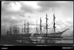 Four-masted barque LYDGATE with other sailing ships possible at Newcastle, NSW, 1893-1920