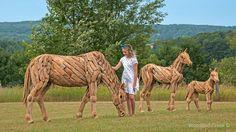 Grazing Driftwood Horse