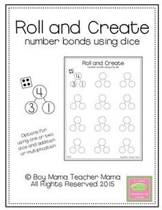 "Roll a die, fill in the ""boss number"" and complete the number bond. Use one die, two dice and add or two dice and multiply. Numbers Kindergarten, Math Numbers, Decomposing Numbers, Math Stations, Math Centers, Second Grade Math, Grade 1, Math In Focus, Teaching Math"