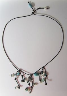 Knotted Leather and Turquoise Necklace with Freshwater Pearls NICE$39.99