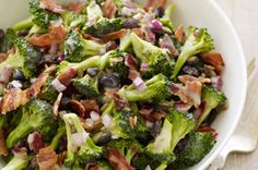 What You Need:  1/2 cup Miracle Whip Dressing 1/2 cup sugar 2 Tbsp. white vinegar 12 cups broccoli florets 1 small red onion, finely chopped 1/2 cup raisins 1/4 cup sunflower kernels 5 slices bacon, cooked, crumbled Make It  MIX dressing, sugar and vinegar.     COMBINE broccoli, onions, raisins and sunflower kernels in large bowl. Add dressing mixture; toss to coat.     REFRIGERATE several hours. Sprinkle with bacon before serving.