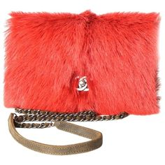 Pre-owned Chanel Fur Quilted Red Cross Body Bag ($2,915) ❤ liked on Polyvore featuring bags, handbags, shoulder bags, red, shoulder strap bags, red crossbody, chanel purse, red purse and red crossbody purse
