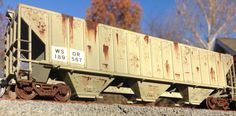 Custom weathered and custom painted WSOR PS 54' Grain Hopper by American Railroad Customs
