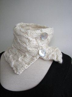 White Knitted Cowl  Luxury merino alpaca silk blend  by SixSkeins, $37.00