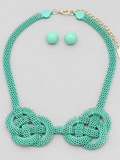 MINT CHAIN NECKLACE. Mint, cool mint, chain knotted necklace set. by Nambaste on Etsy