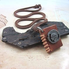 PUNK Brown leather Book Pendant  Adiustable  by sevenvsxiao, $9.00