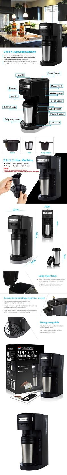 Coffee Maker Machine Yummy Sam 2-in-1 K-cup Capsule Coffee Maker Machine Ground Coffee Single Serve Coffee Maker with Hydroforce Extraction System and Adjustable Dispenser in Black