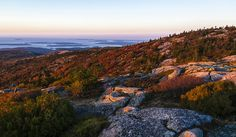 Taken shortly after sunrise on Cadillac Mountain on Mt. Desert Island in Acadia National Park. Not a very good photo as such but the the light was wonderful and definitely made up for the cold morning. Camping San Sebastian, Acadia National Park Camping, Grand Canyon Camping, Best Places To Camp, Places To Visit, Get Outdoors, The Great Outdoors, Camping In Maine, Us National Parks