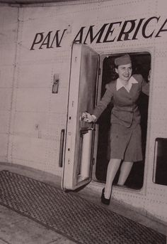 1940s Pan Am's first Stewardess, Madeline Cuniff in the doorway of a Boeing 314 flying boat.
