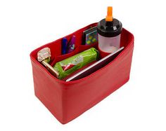 e001a0001b93 Purse organizer for LV BAGS with only inside pockets and Ipad sleeve in  faux leather red