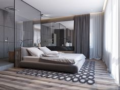 The Hidden Truth Regarding Two Apartments With Sleek Grayscale Interiors 00006 - homeexalt Master Bedroom Interior, Wood Bedroom, Room Interior Design, Bedroom Decor, Habbo Hotel, Bedroom Designs Images, Basement Furniture, Bedroom Wall Colors, House Design
