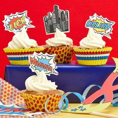 adult superhero party ideas | Superhero Party Cupcake Kit