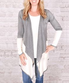 Another great find on #zulily! Heather Gray Color Block Open Cardigan #zulilyfinds