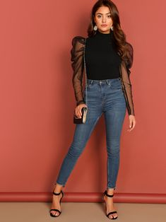 To find out about the Mesh Puff Sleeve Mock Neck Top at SHEIN, part of our latest Women Tops ready to shop online today! Dress Outfits, Casual Outfits, Fashion Outfits, Frack, Trendy Dresses, Casual Fall, Types Of Sleeves, Blouse Designs, Ideias Fashion