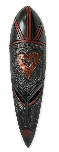 Ghanaian wood mask, 'African Heart' - Hand Crafted African Wood Mask