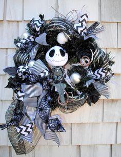 Halloween Wreath, Christmas Wreath, Nightmare Before Christmas Jack Skellington