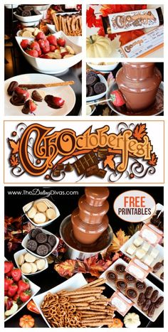 Oh my goodness! This is SOOO much better than Oktoberfest! Forget the beer and brats, bring on the CHOCOLATE! This post even has free printable invitations, food labels, and a cute banner. This seems more for me but delicious! Chocolate Fountain Recipes, Chocolate Fountains, Dating Divas, Chocolate Party, Chocolate Fondue, Chocolate Festival, Brownies, Fondue Party, Oktoberfest Party