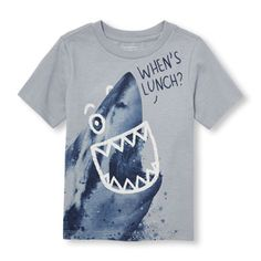 Toddler Boys Short Sleeve 'When's Lunch' Shark Graphic Tee