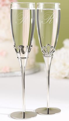 King and Queen Toasting Flutes (Hortense B Hewitt 11344) | Buy at Wedding Favors Unlimited (http://www.weddingfavorsunlimited.com/personalized_king_and_queen_toasting_flutes.html).
