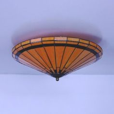 Antique Style Orange Ceiling Light Conical Shade Art Glass Flush Mount Light for Dining Table, Fashion Style Tiffany Lights Dining Room Lighting, Bedroom Lighting, Flush Mount Lighting, Fashion Lighting, Craftsman, Glass Art, Dining Table, Ceiling Lights, Orange