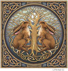Image detail for -Celtic moon gazing hare card Pagan Wiccan Lisa Parker Lisa Parker, Year Of The Rabbit, Pagan Art, Rabbit Art, Bunny Art, Art Sculpture, Celtic Art, Celtic Designs, Wiccan